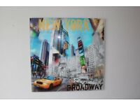 New York Broadway Montage on tempared glass