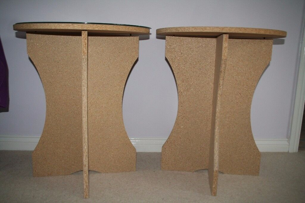 Set of two round Chipboard tables with glass tops