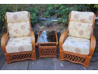 Pair of Cane Armchairs & Table