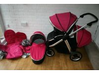 Babystyle Oyster Max 2 double pushchair pram with carrycot - pink CAN POST