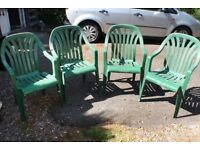 4 Plastic Patio Garden Chairs Green Stacking