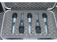 Set of 5 x Sennheiser Evolution E-815-S Dynamic Microphones - With FREE Hard Case & Cables