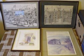 Set of Four Pictures - 2 X Black & White Drawings & 2 Water Colours