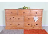 DELIVERY OPTIONS - VERY LARGE 7 DRAWER PINE CHEST OF DRAWERS, WAXED ALL DOVETAIL