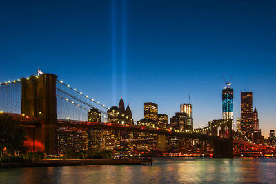 New York Skyline September 11th Memorial Lights Photo Art Print Poster (New York Skyline Photo)