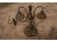 3 Light Pendant with Tiffany shades. Antique Brass