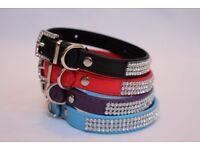 Pu Leather Studded Diamante Crystal Dog Puppy Cat Adjustable Rhinestone Collar