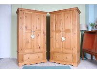 DELIVERY OPTIONS - 2 x MATCHING TOP QUALITY MADE SOLID PINE DOUBLE WARDROBES
