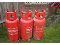 3 x 19kg C ALOR GAS PROPANE BOTTLES 1 FULL 1 HALFE FULL & 1 ABOUT A THIRD FULL
