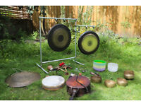 Sound Therapy with Gongs, Crystal Bowls, Tibetan Singing Bowls, Tuning Fork, Drums