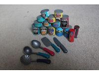 ELC kitchen utensils and food