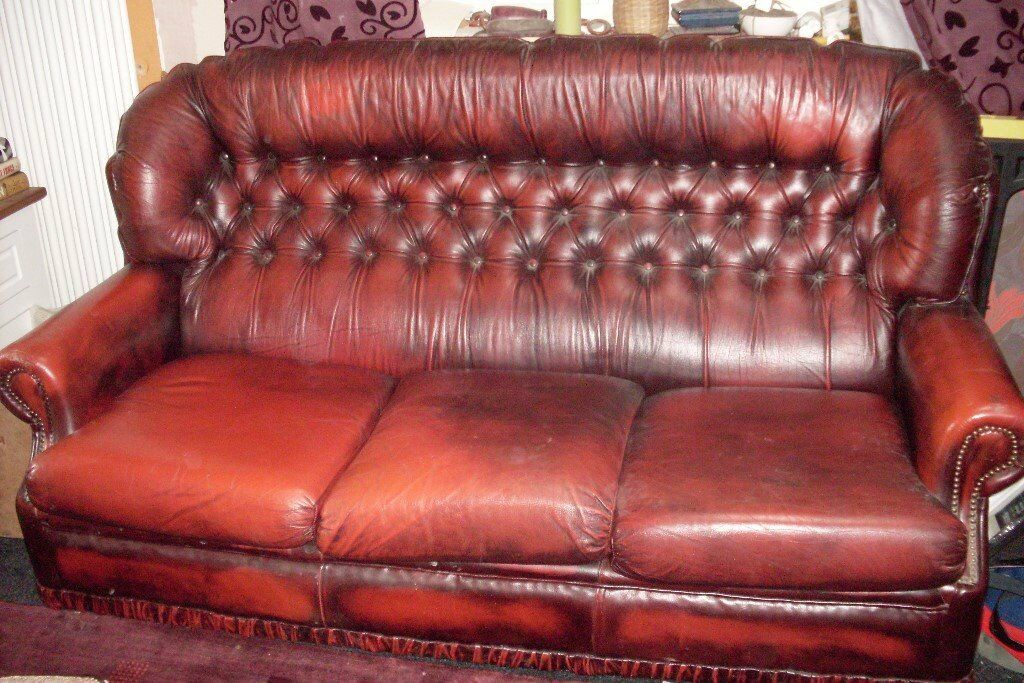 Ox Blood 3 Seat Leather Chesterfield Sofa In Derby Derbyshire - Derby-chesterfield-sofa