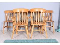 DELIVERY OPTIONS - 6 X SOLID BEECH FARMHOUSE CHAIRS INCLUDING 2 CARVERS STURDY