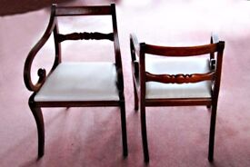 2 Dining room chairs - repro old style with arm rests - dark wood (rosewood?) inset pattern