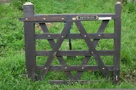 Wood Gate with hinge and brass studs 122 x 110cm Good condition