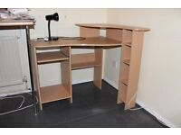 corner workstation with pull out shelf. At Houghton Regis