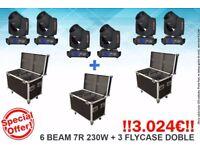 6 Head mobile Beam 7R 230W Osram + 3 Flycase
