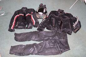 Motorbike gear: two leather jackets, leather trousers, open-face helmet, heavy duty gloves
