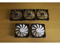 PC case fans 140mm, 3x Corsair LED + 2x Fractal