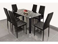 PRINTED GLASS DINING TABLE AND CHAIRS SET BRAND NEW BOXED CLEARANCE PRICE FULL SET £149.99