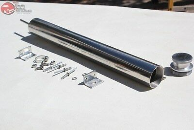 "17"" Stainless Radiator Water Coolant Overflow Tank Custom Truck Hot Rat Rod New"