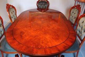Dining table & chairs. Solid wood Italian Rococo style table and 6 matching chairs.