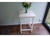 Versatile Vintage Hand Painted, Upcycled, Cream Barley Twist Table