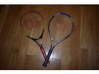 2 used tennis racquets