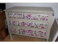 Hand painted, oak dressing table and chest of drawers