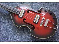 Rare 1960's Orfeus Orpheus vintage violin bass guitar. Scroll neck, red sunburst