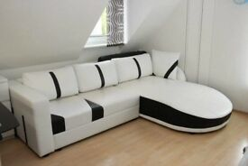 White leather sofa corner, chaise. Sofa bed