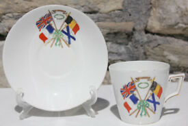 Antique Shelley China Pre 1917 World War 1 Cup Saucer Freedom Britain France Belgium Russia WWI