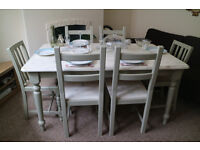 Farmhouse Shabby Chic Dining Table and 6 Chairs, Large 6 Seater Dining Table