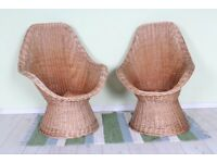DELIVERY OPTIONS - 2 X MATCHING WICKER CHAIRS IN GOOD CONDITION CLEAN INTACT