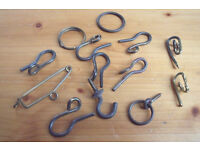 13 x vintage brass bits associated with pin/sew on curtain hooks.Also jewellery making/craft?£1 lot.