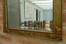 Vintage Ornate Gold Gilt Wall Mantel Bevelled Mirror 68 cm x 38 cm