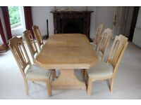 Dining table and 6 chairs - beech - good condition