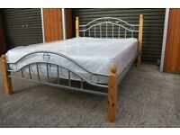 Silver metal & Pine Double bed with BRAND NEW mattress. FREE DELIVERY IN BELFAST!