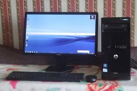 """Hp Pro Pc Tower with Dell 22"""" LCD Monitor, Full set up,"""