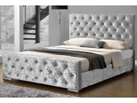 BLACK SILVER OR MINK- NEW DOUBLE OR 5FT KING CHESTERFIELD CRUSH VELVET BED IN DIFFERENT COLOURS