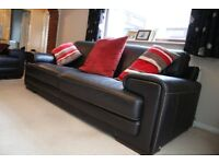 Natuzzi 4 Seat Black Leather Sofa