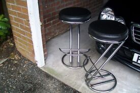 Barstools (pair of) in chrome.