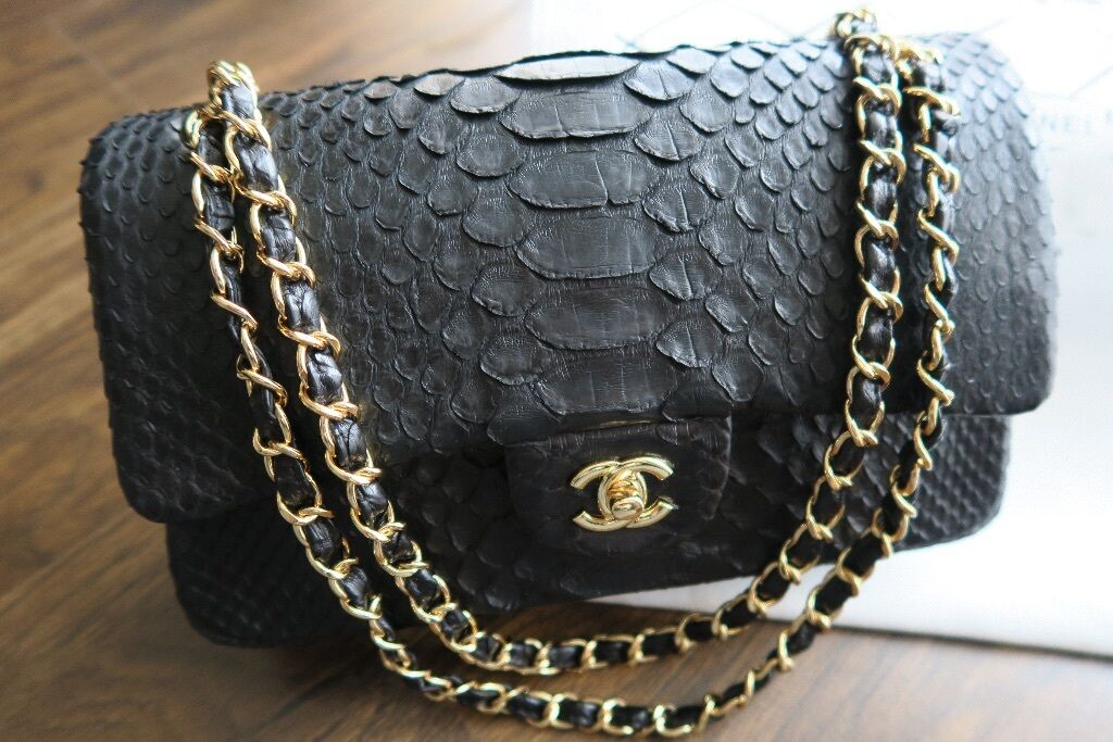 New Chanel Python Leather Classic Double Flap Bag 459 Rare