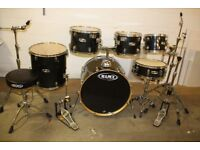 Mapex M Series Charcoal Grey Lacquered 6 Piece Full Drum Kit (22in Bass) + Stands + Stool + Cymbals