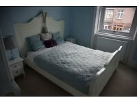 French rococo king size bed white frame
