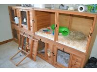 Wooden Rabbit Hutch for sale 2ftx2ftx4ft with central divider if needed, front opening.