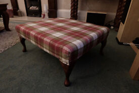 Footstool newly upholstered in Laura Ashley checked Stirling tartan wool fabric