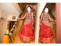 Maroon red Lengha for Asian Weddings