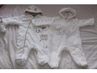 BABY WHITE 2 SNOWSUIT 3-6 MONTHS.JUST 5 POUNDS