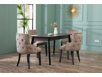 Dining Kitchen Chairs W/ Grey Legs & Deep Buttons